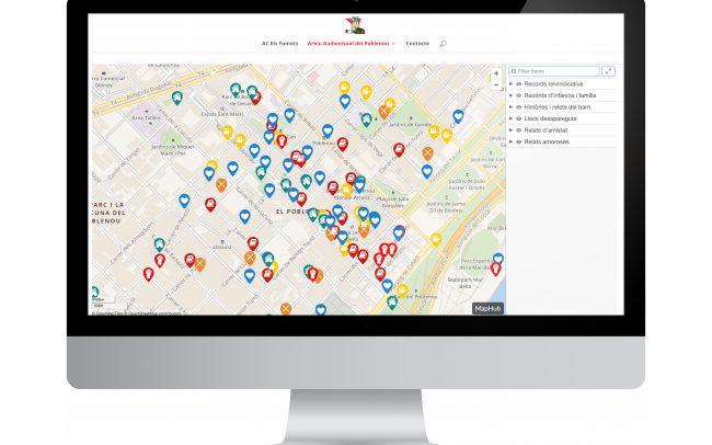 Disseny de la pàgina web de l'Arxiu Audiovisual del Poblenou, en la qual hem elaborat un mapa virtual traspassant el conjunt de records del barri (en format audiovisual, de text i d'àudio), que Els Fumats han anat recollint durant més d'un any.