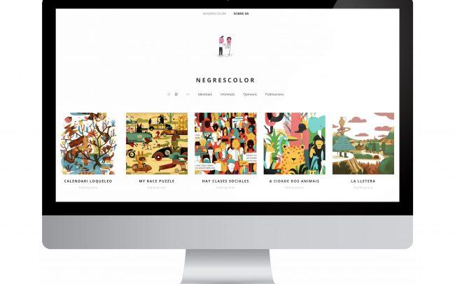 Disseny de la nova pàgina web de l'il·lustrador Negrescolor, guanyador de diversos premis i reconeixements, el qual aporta els seus dibuixos a iniciatives col·lectives d'esperit crític i pràctiques radicals.