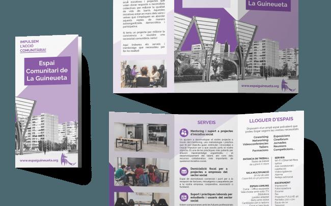 Tríptic de la campanya de comunicació per a la presentació del nou espai comunitari de La Guineueta