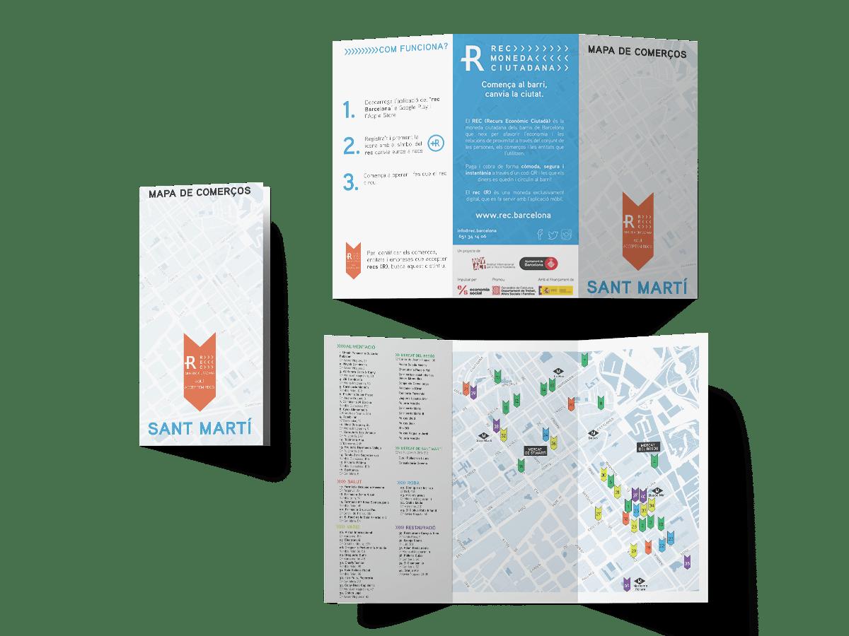 Mapes de la campanya REC Barcelona on podem trobar els comerços en els quals es pot fer ús de a moneda, a Sant Andreu, Sant Martí i Nou Barris.